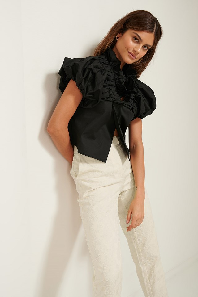 Ruffle Neck Cotton Blouse Black