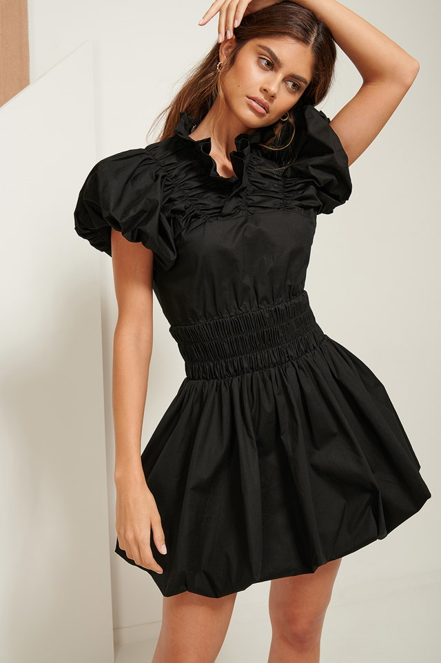 Ruffle Neck Mini Dress Black