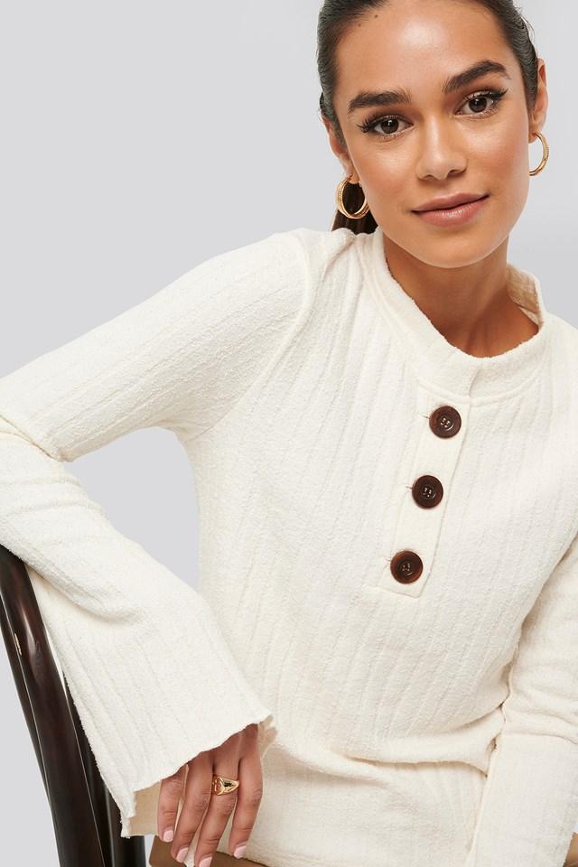 Asymmetric Bell Sleeve Ribbed Sweater Ecru