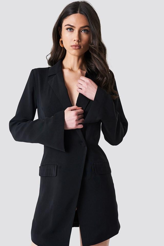 Asymmetric Blazer Dress Black