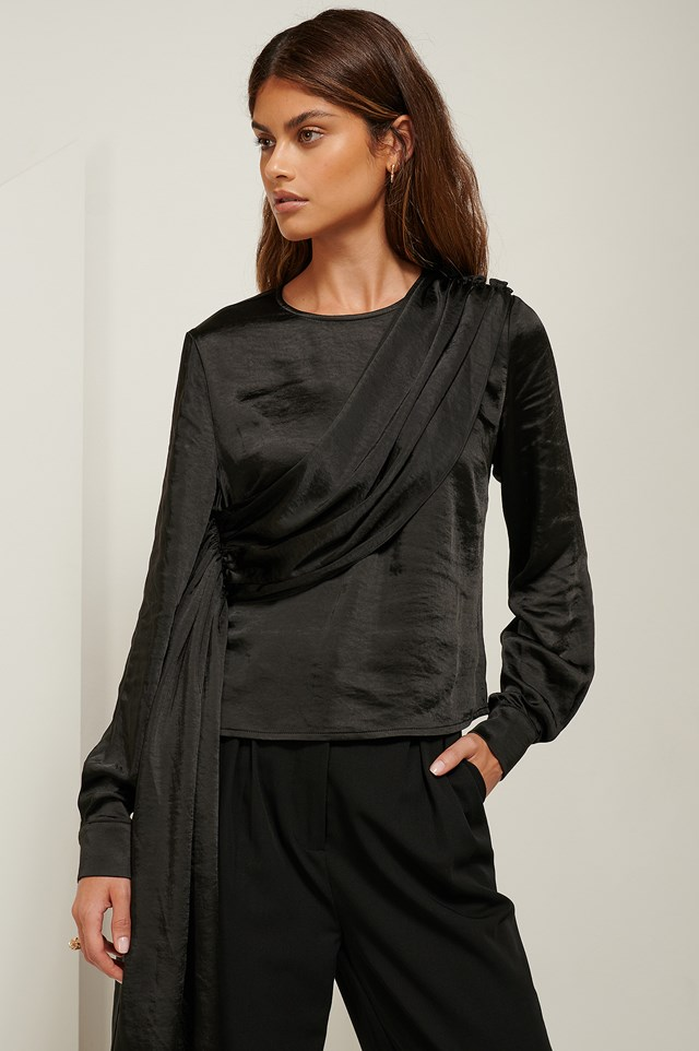 Asymmetric Draped Satin Blouse Black