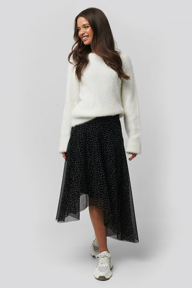 Asymmetric Hem Skirt Multi