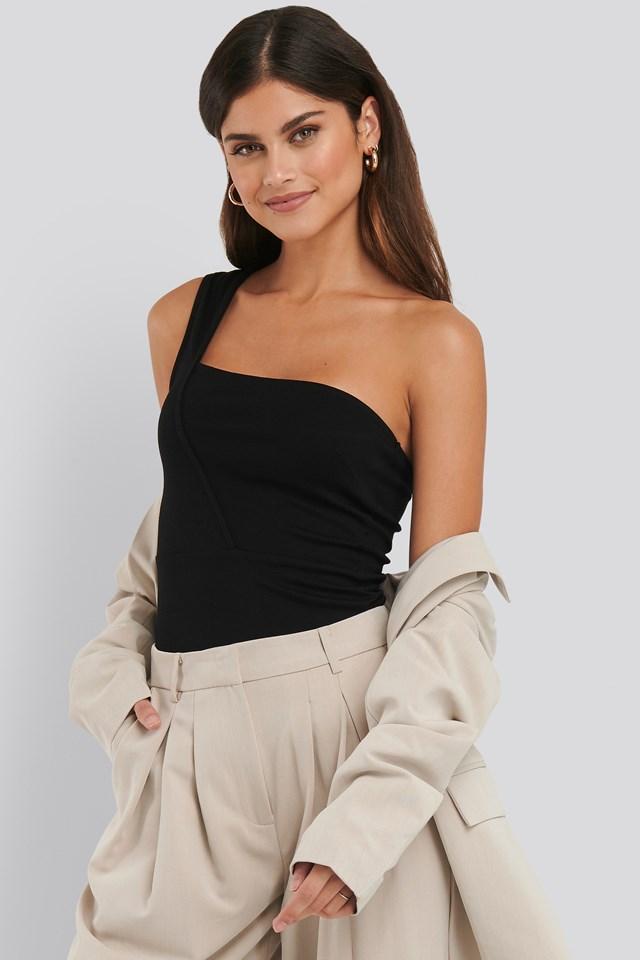 Asymmetric Jersey Top Black