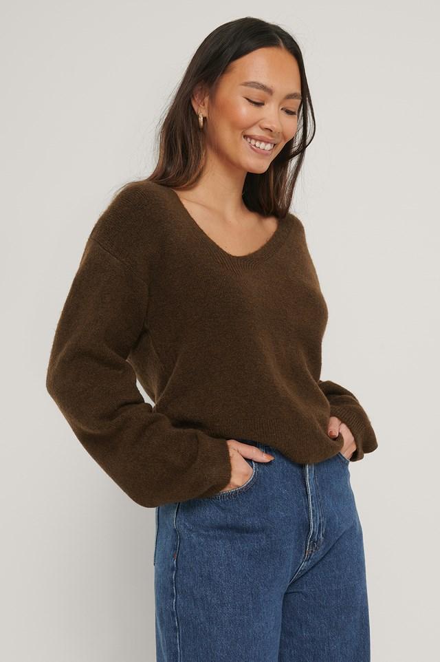 Asymmetric Neckline Knitted Sweater Brown