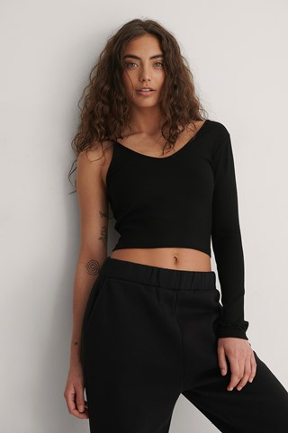 Black Asymmetric Ribbed Top