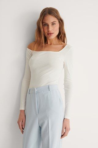 Offwhite Asymmetric Shoulder Ribbed Top