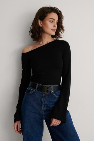 Black Asymmetric Shoulder Top