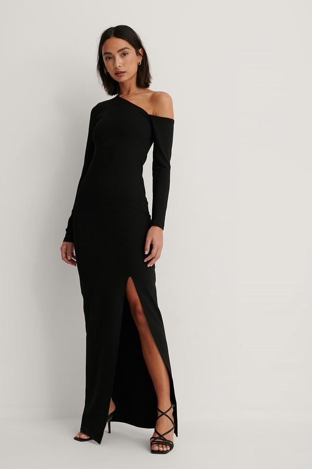 Asymmetric Slit Detail Maxi Dress Black