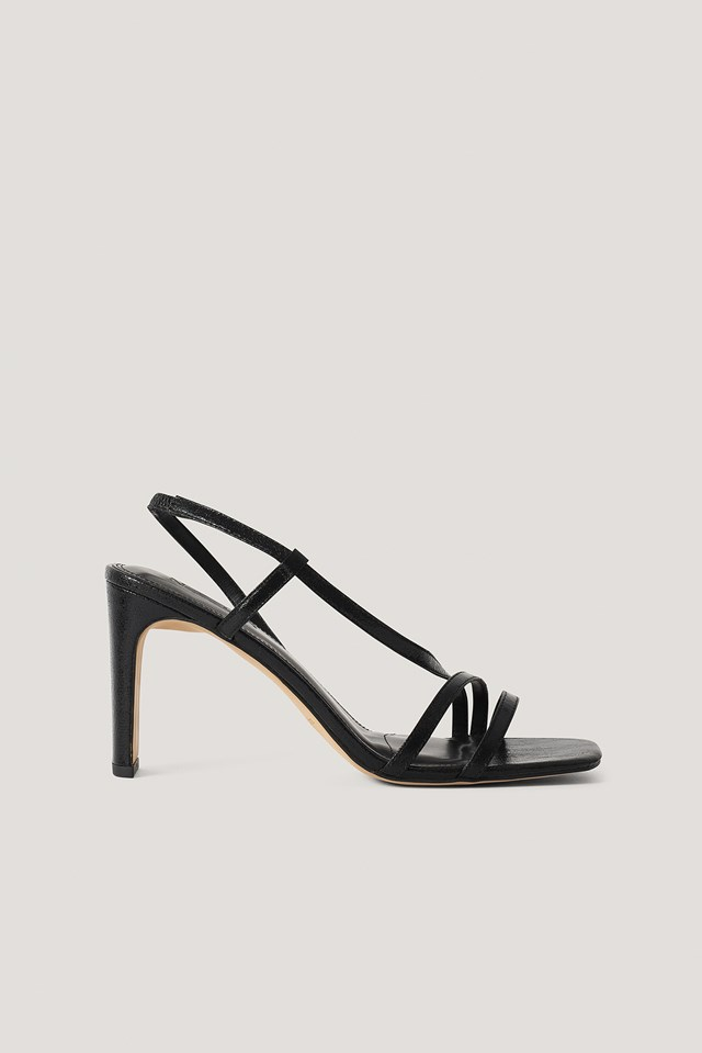 Asymmetric Strap Heels Black Metallic
