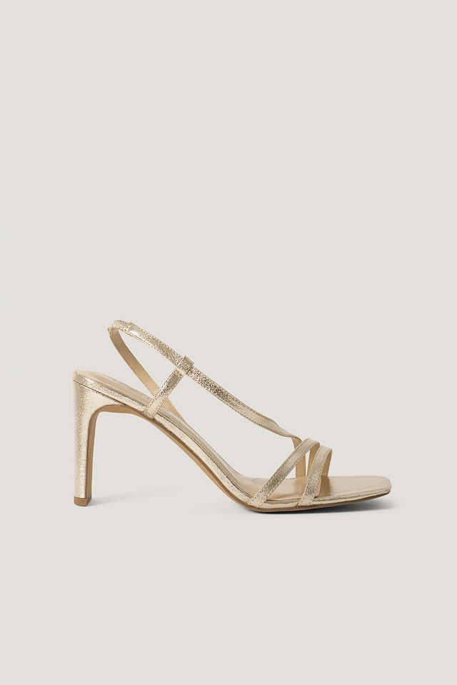 Asymmetric Strap Heels Gold Metallic