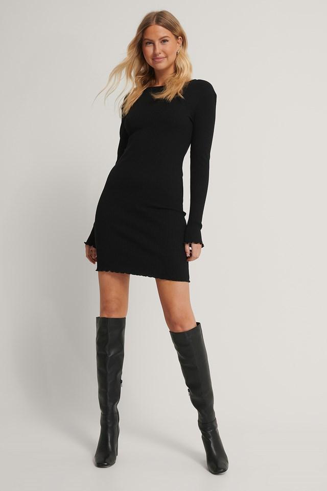 Babylock Ribbed Long Sleeve Dress Black