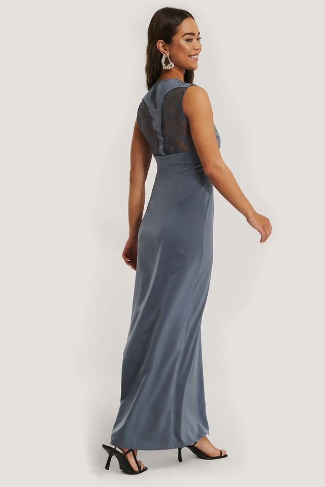 Back Detail Maxi Dress Stone Blue