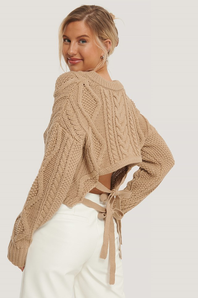 Back Knot Detail Cable Knit Sweater Light Beige