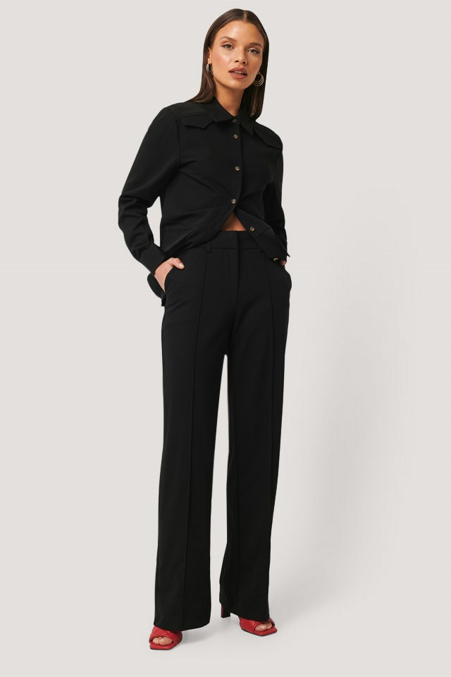 Back Slit Suit Pants Black