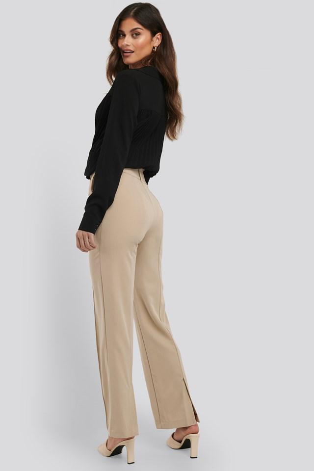 Back Slit Suit Pants Beige