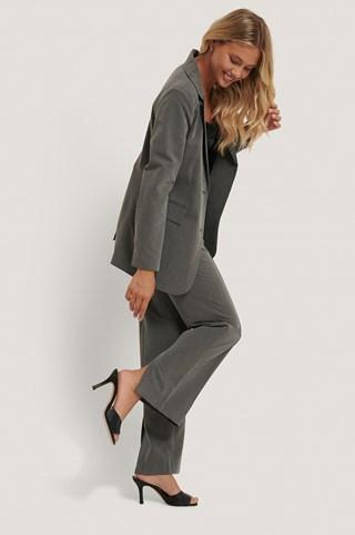 Grey Back Slit Suit Pants