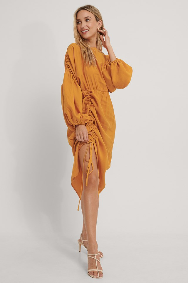 Balloon Draped Midi Dress Orange