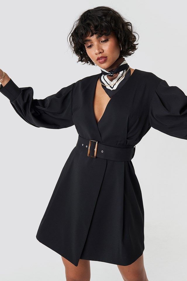 Balloon Sleeve Belted Blazer Dress Black