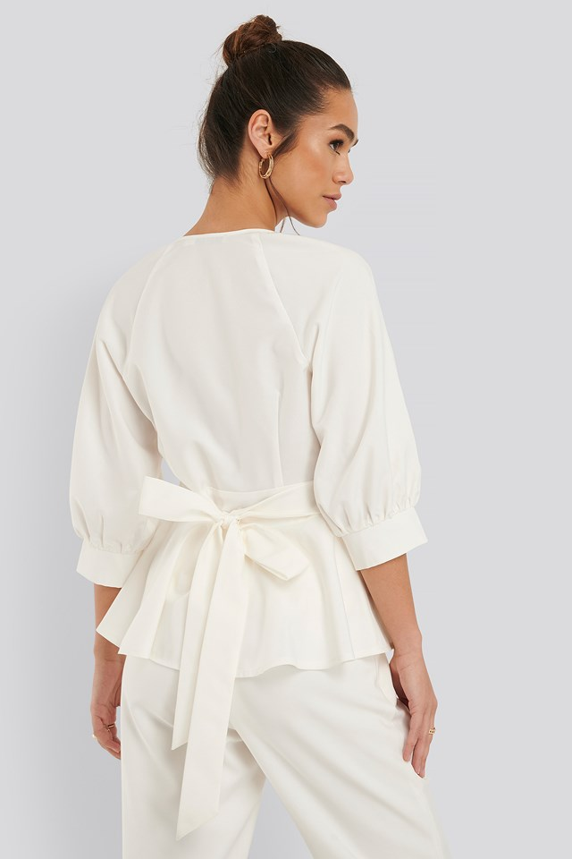 Balloon Sleeve Belted Blouse White
