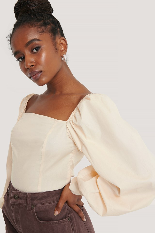 Balloon Sleeve Blouse Off White