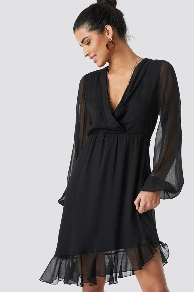 Balloon Sleeve Chiffon Mini Dress Black