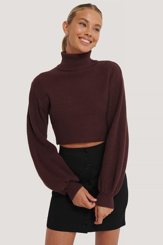 Balloon Sleeve Cropped Polo Sweater Aubergine