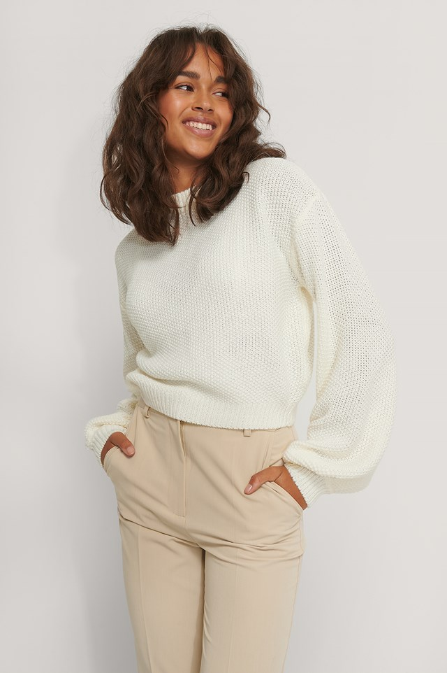 Balloon Sleeve Knitted Cropped Sweater Offwhite