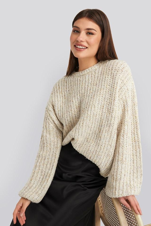 Balloon Sleeve Melange Sweater NA-KD Trend