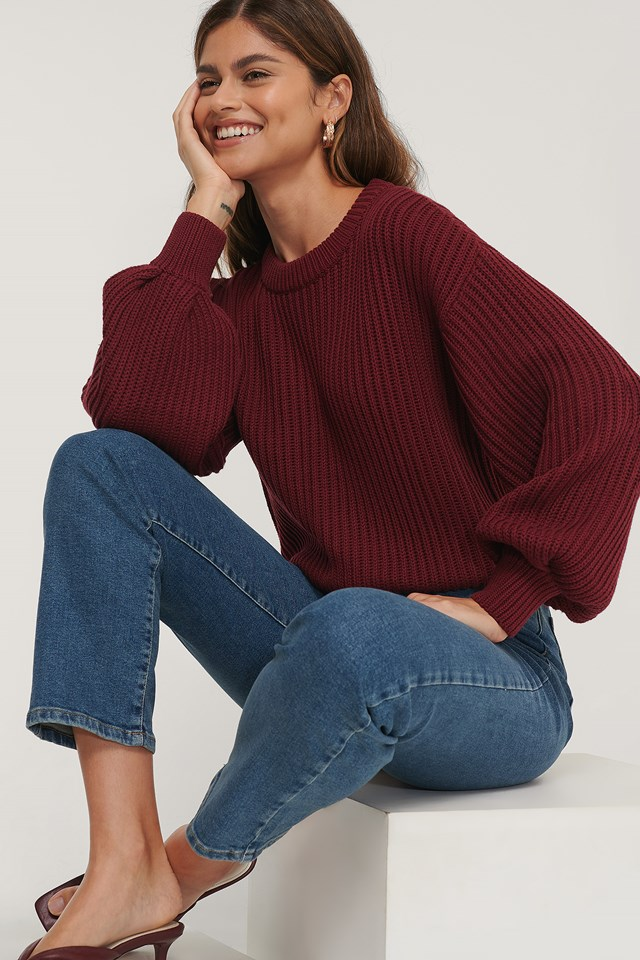 Organic Balloon Sleeve Round Neck Sweater Burgundy