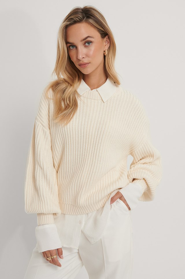 Organic Balloon Sleeve Round Neck Sweater Offwhite
