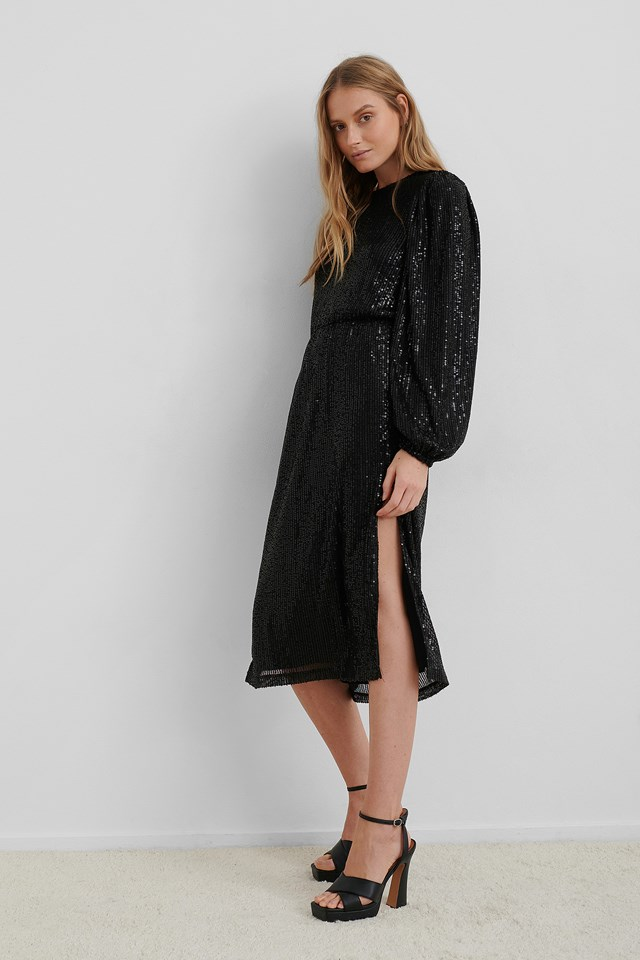 Balloon Sleeve Slit Sequin Dress Black