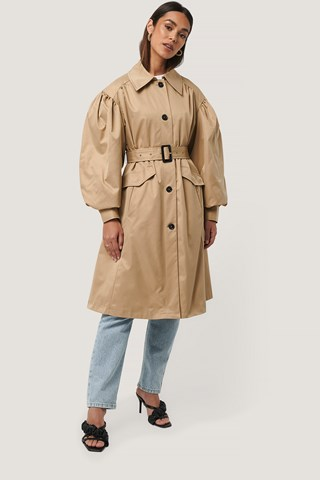 Beige Balloon Sleeve Trench Coat
