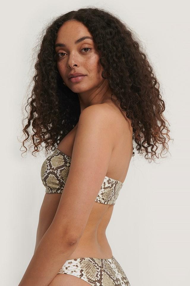 Bandeau Bikini Top Snake Print