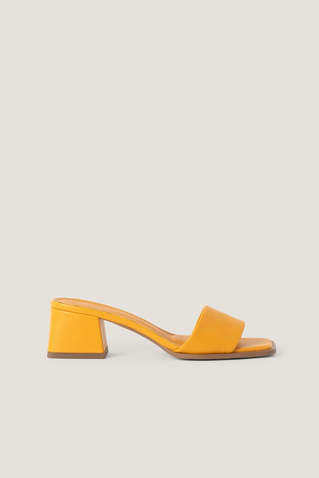 Basic Block Heeled Mules Light Orange