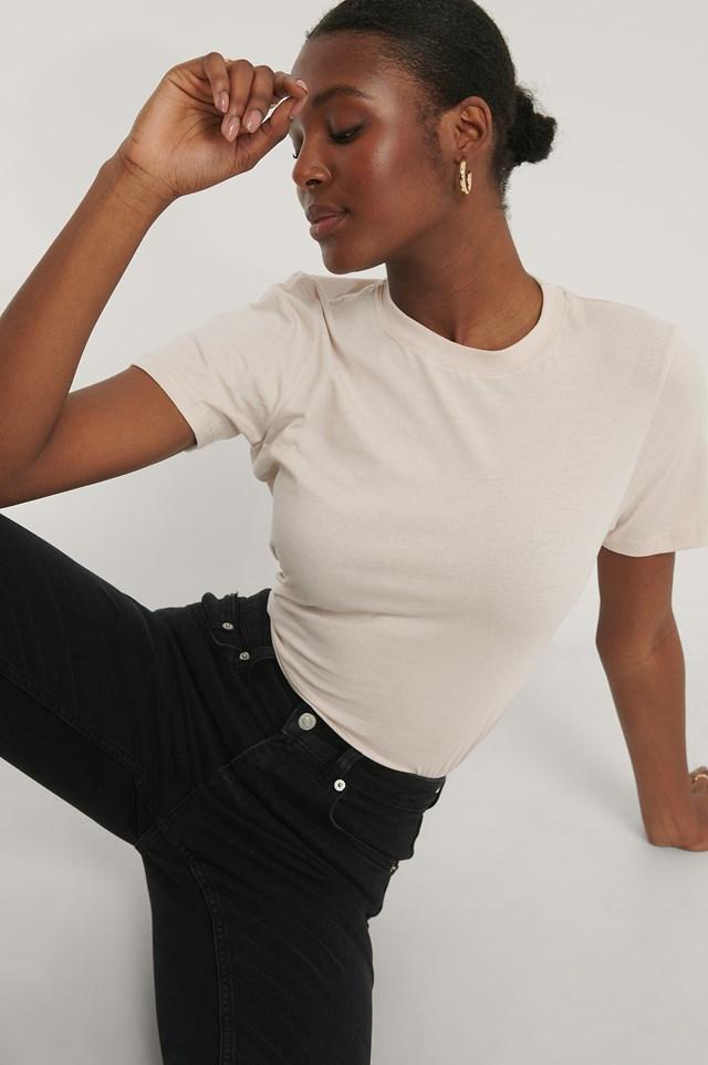 Basic Cotton Roundneck T-shirt Dusty Light Beige