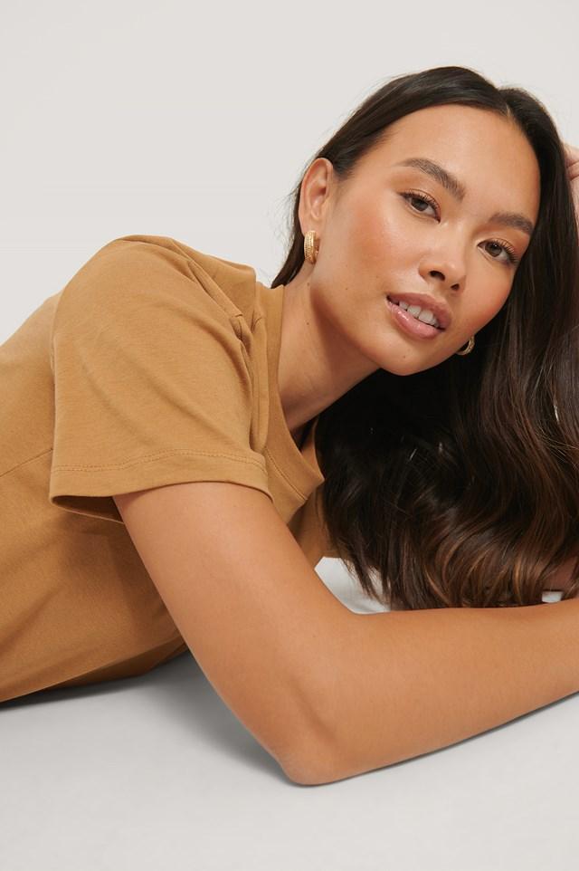 Basic Cotton Roundneck T-shirt Tan