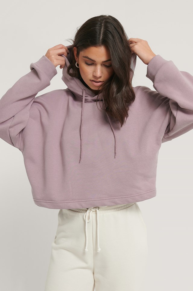 Basic Cropped Hoodie Purple