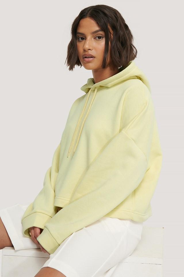 Basic Cropped Hoodie Light Yellow