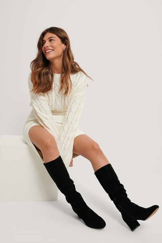 Basic Knee High Boots Black