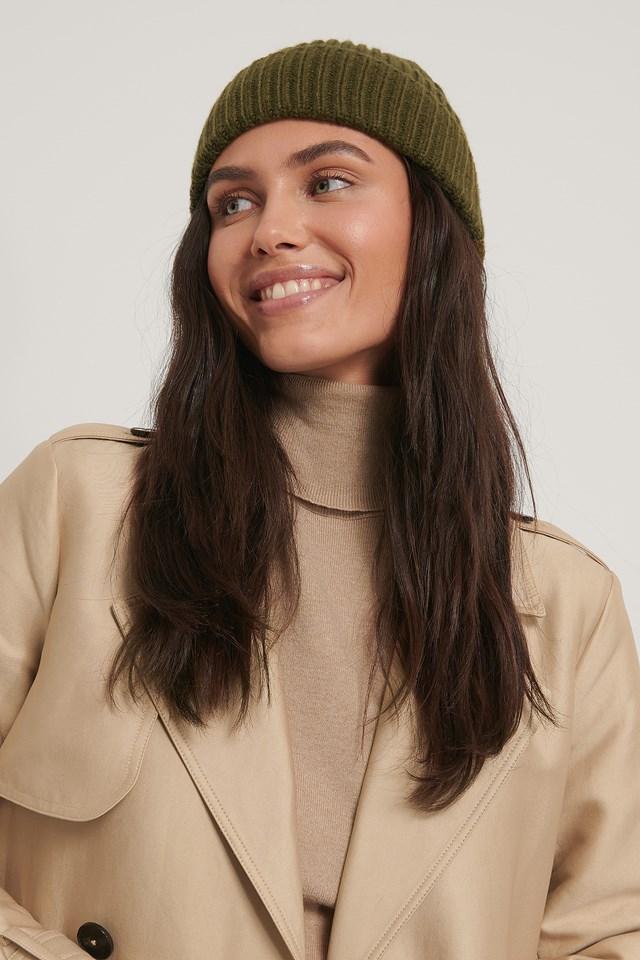 Basic Knitted Beanie Olive Green