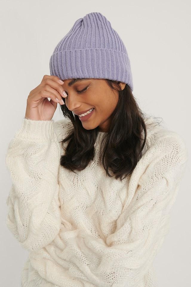 Basic Knitted Beanie Lilac