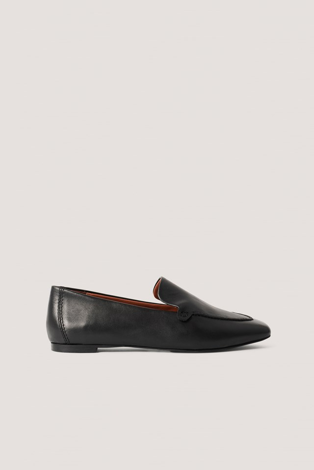 Basic Leather Loafers Black