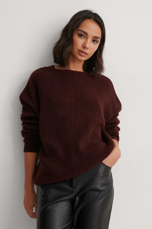 Burgundy Basic Round Neck Knitted Sweater
