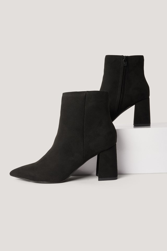 Basic Slanted Heel Faux Suede Boots Black