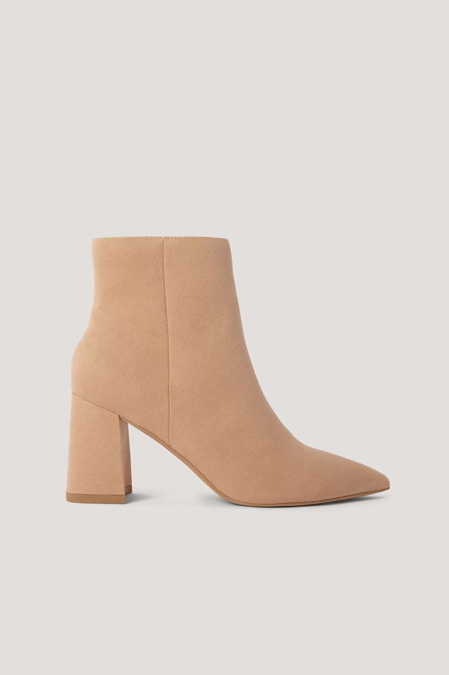 Basic Slanted Heel Faux Suede Boots Beige