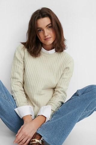 Dusty Light Beige Basic Soft Roundneck Sweater