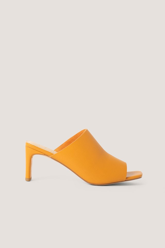 Orange Basic Squared Heel Mules