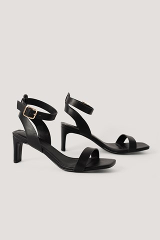 Black Basic Squared Heel Sandals