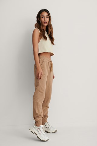 Beige Basic Sweatpants