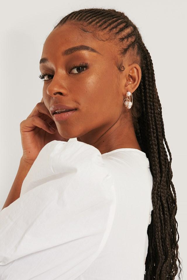 Bead Hoop Earrings Gold